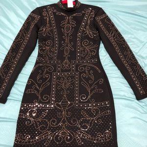 NWT Bebe black and Gold Jacquard dress
